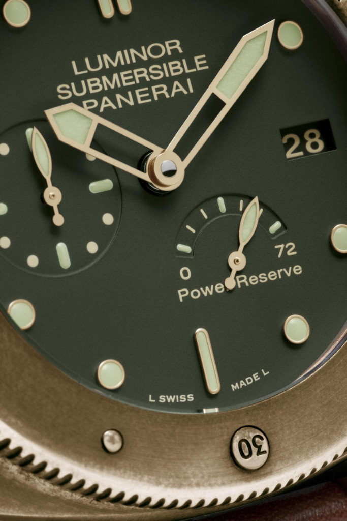 Luminor Submersible 1950 3 Days Power Reserve Automatic Bronzo - 47mm, PAM00507, P.9002 Movement, bronze, green dial, calf strap